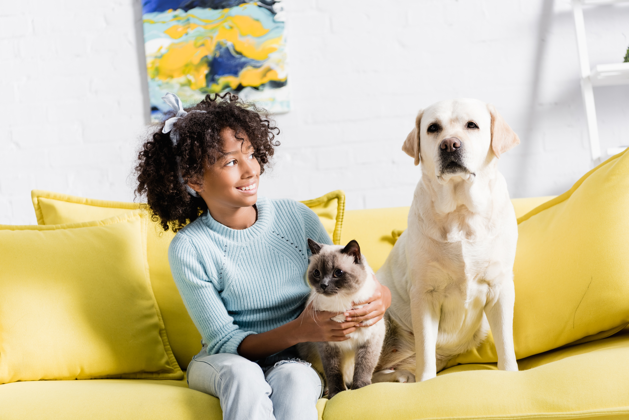 Cheerful girl with headband embracing siamese cat and looking at retriever sitting on yellow sofa, on blurred background