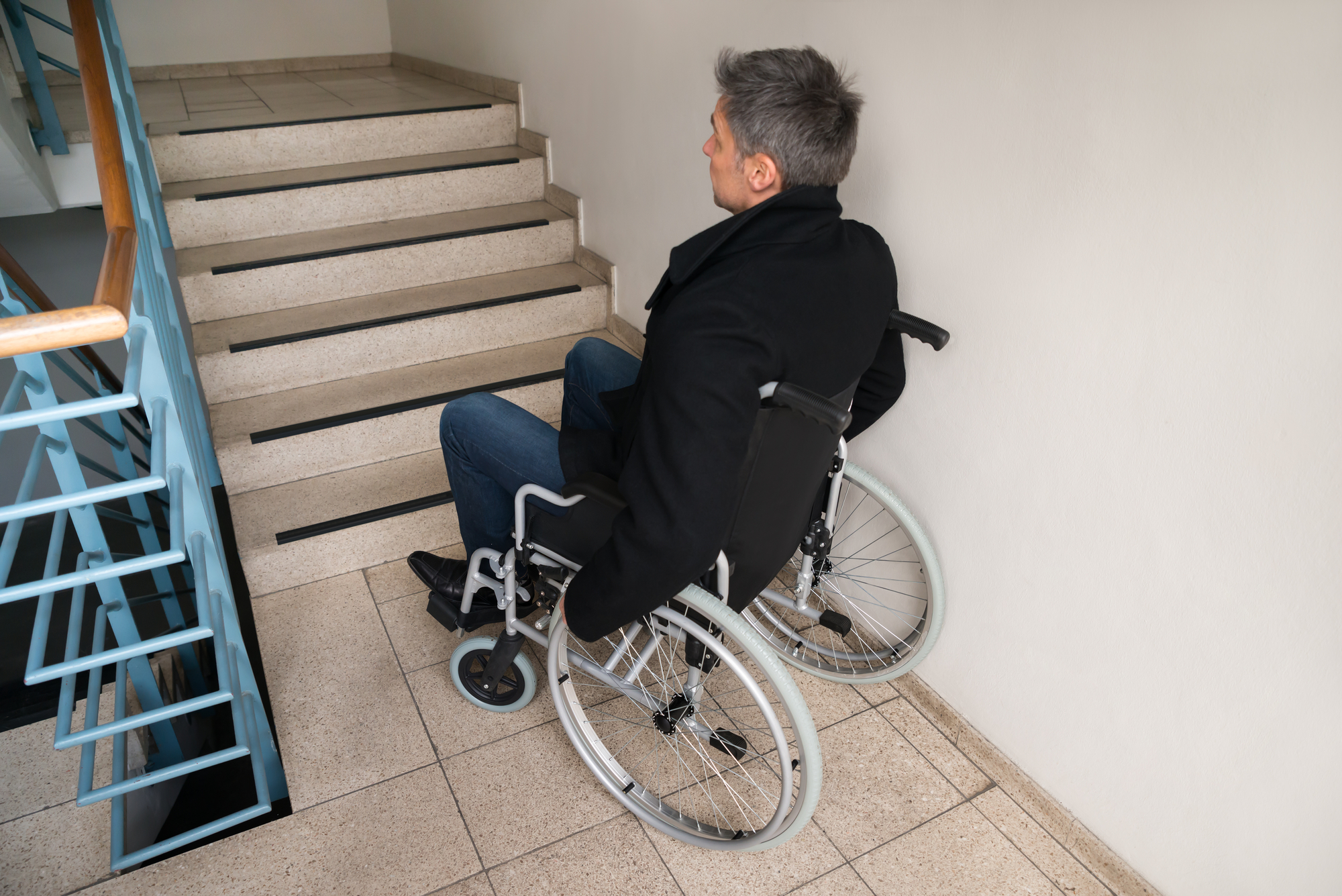 Disabled Man On Wheelchair